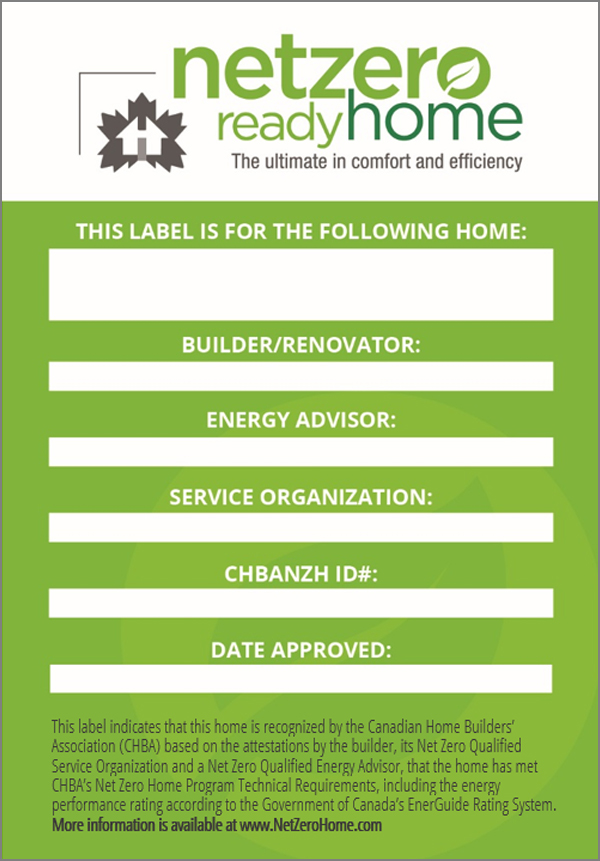 Net Zero Ready Home Label