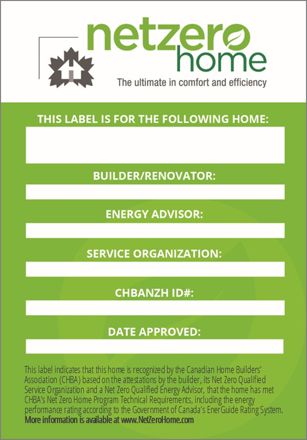 Net Zero Home Label